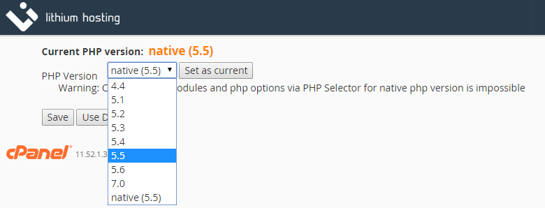 PHP Version Selector