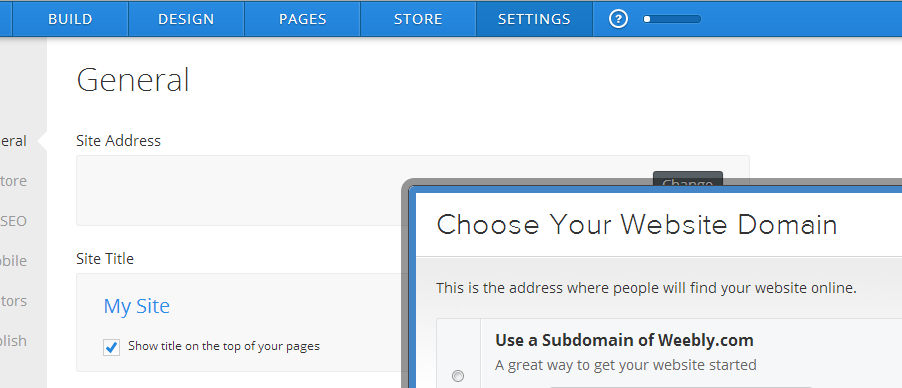 Weebly Settings